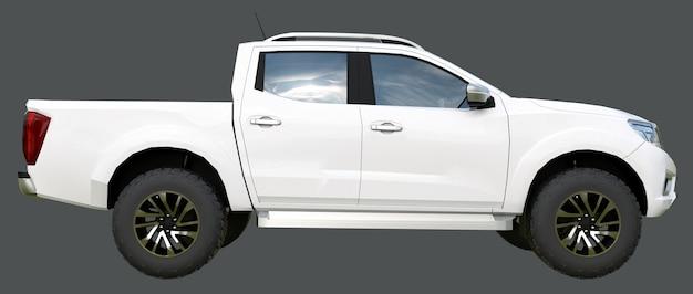 Biały samochód dostawczy z podwójną kabiną. maszyna bez insygniów z czystym, pustym nadwoziem, aby pomieścić logo i etykiety. renderowania 3d.