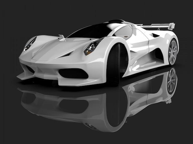 Biały samochód koncepcyjny wyścigu obraz samochodu na szarym błyszczącym