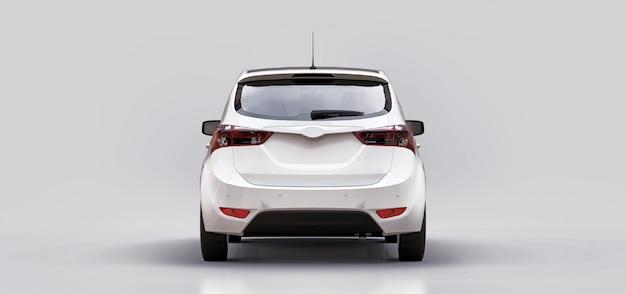 Biały samochód miejski z pustą powierzchnią do kreatywnego projektowania. renderowanie 3d.