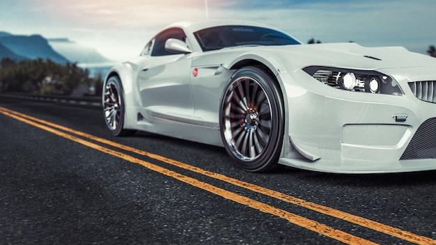 Biały samochód sportowy.