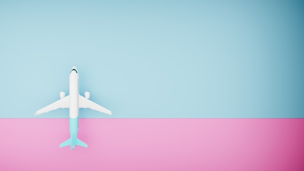 Biały samolot na niebieskim i różowym tle, widok z góry. renderowanie 3d