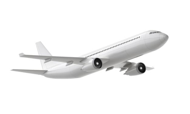 Biały samolot startuje na białym tle
