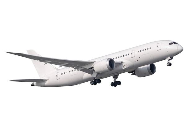 Biały samolot z silnikiem odrzutowym