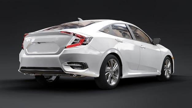 Biały średniej wielkości miejski sedan rodzinny renderowania 3d