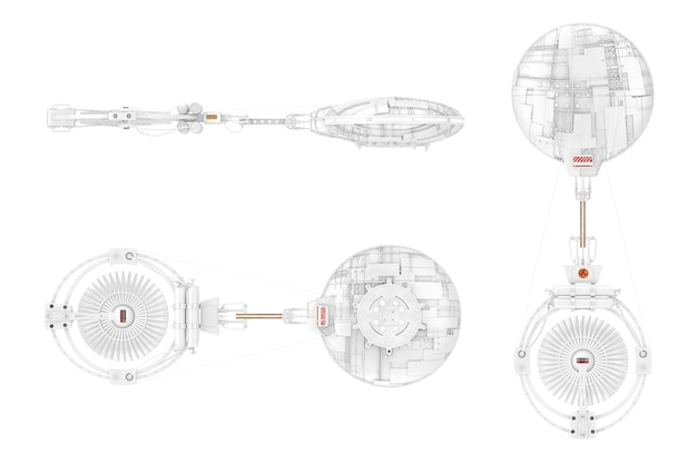 Biały statek kosmiczny, stacja kosmiczna lub statek kosmiczny alien ufo w stylu gliny na białym tle. renderowanie 3d