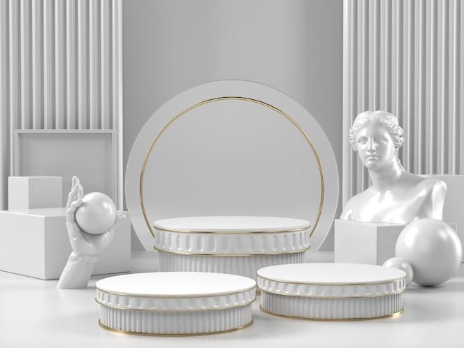 Biały stojak na podium i klasyczny rzymski element kosmetyków kosmetycznych lub innej marki.