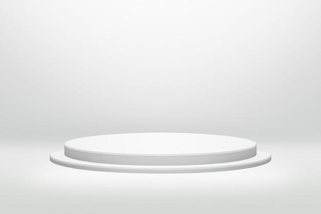 Biały stojak na podium w okrągłym kształcie z cylindryczną koncepcją na tle nowoczesnego pokoju