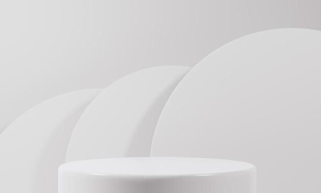 Biały stojak na produkt na białym tle abstrakcyjna koncepcja minimalnej geometrii