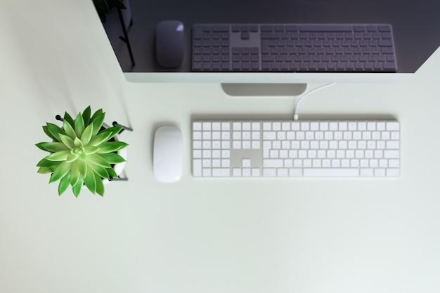 Biały stół biurowy z klawiaturą komputerową, myszą, monitorem, soczystą rośliną i innymi artykułami biurowymi.