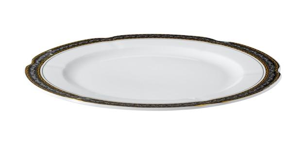 Biały stół ceramiczny talerz ze złotą obwódką na białym tle