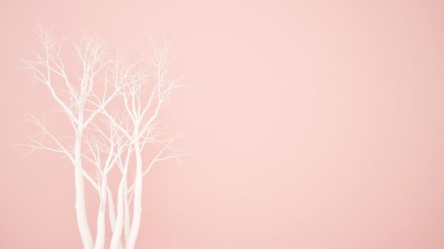 Biały suchy drzewo na różowym tle