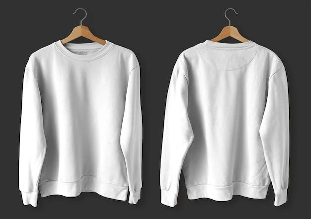 Biały sweter z przodu iz tyłu