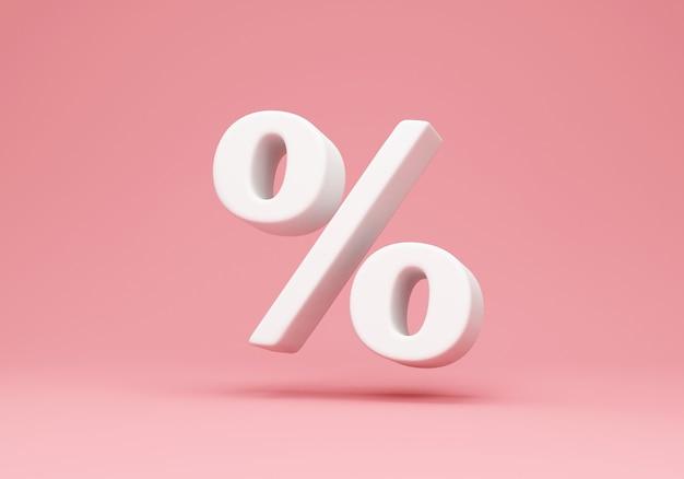 Biały symbol procentu na różowym tle studio