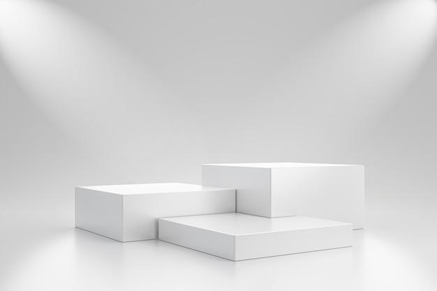 Biały szablon studyjny i sześcian na cokole na prostej ścianie z półką na reflektory. puste studio na podium reklamowe. renderowanie 3d.