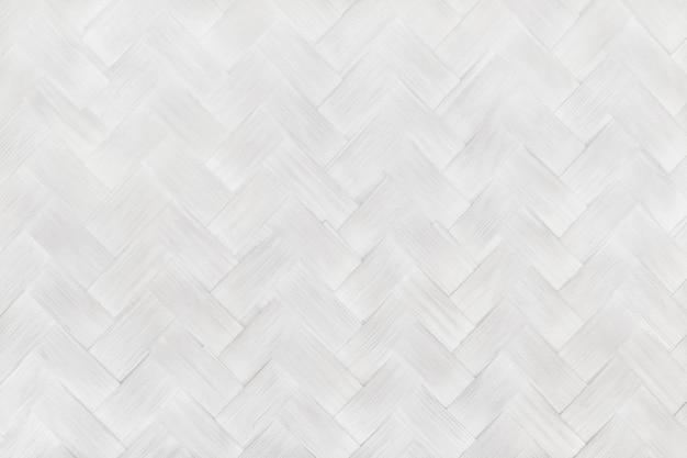 Biały szary bambusowy wzór tkania, stara tkana rattanowa ściana tekstury tła i dzieła sztuki projektowania.