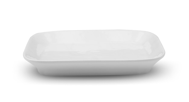 Biały talerz kwadratowy na białym tle