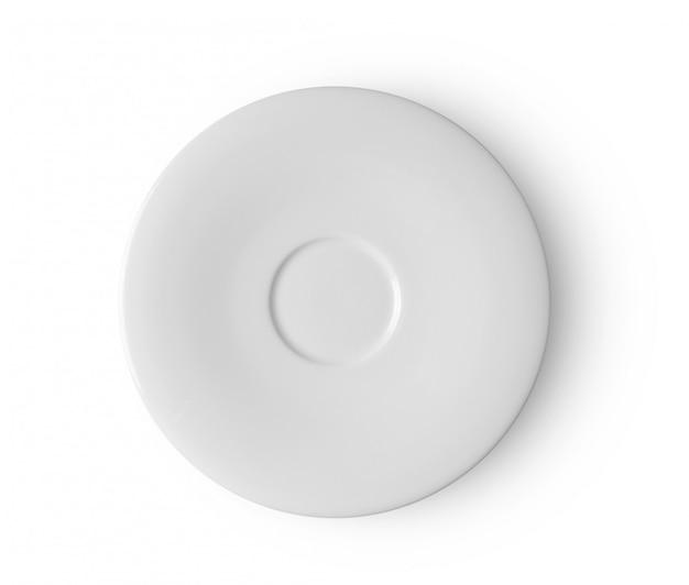 Biały talerz na białej przestrzeni. widok z góry