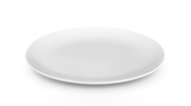 Biały talerz na białej przestrzeni
