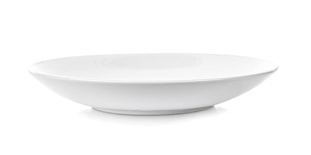 Biały talerz na białym tle