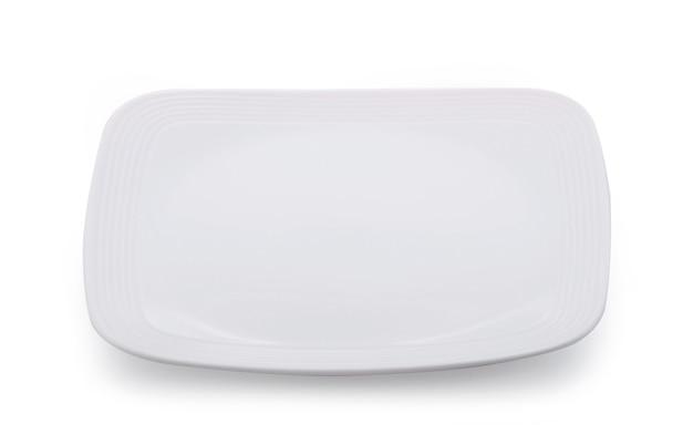 Biały talerz pusty na białym tle