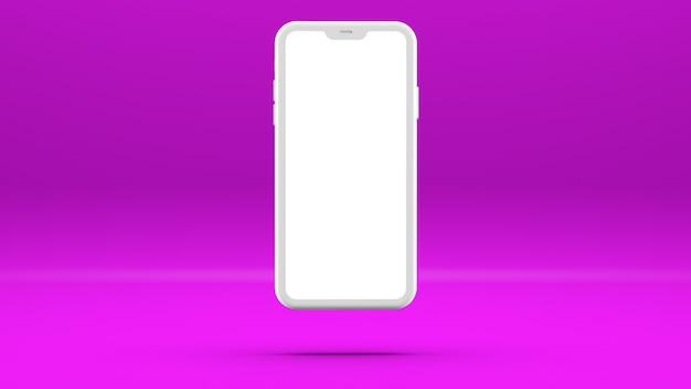 Biały telefon komórkowy na fioletowej ścianie z pustym ekranem trójwymiarowa ilustracja.