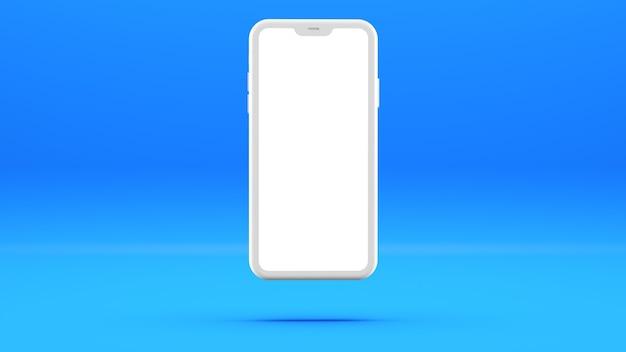 Biały telefon komórkowy na niebieskiej ścianie z pustym ekranem trójwymiarowa ilustracja.
