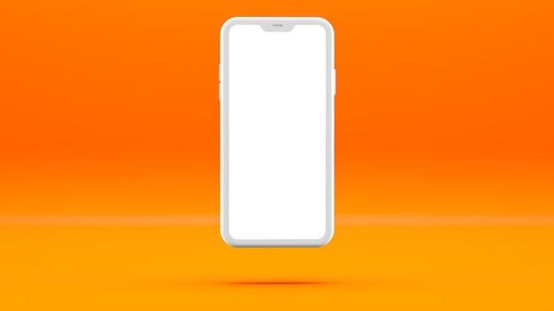 Biały telefon komórkowy na pomarańczowej ścianie z pustym ekranem trójwymiarowa ilustracja.