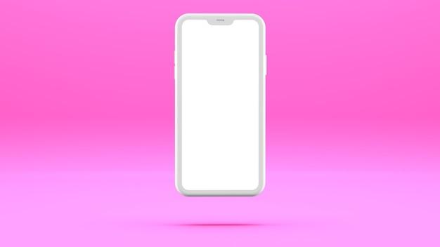 Biały telefon komórkowy na różowej ścianie z pustym ekranem trójwymiarowa ilustracja.