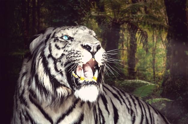 Biały tygrys ziewa na tle zielonych liści. ścieśniać