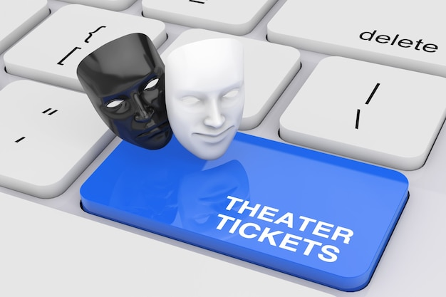 Biały uśmiechający się komedia i czarny smutny dramat groteskowa maska teatralna i bilety do teatru zarejestruj niebieski klawisz na białej klawiaturze komputera pc ekstremalne zbliżenie. renderowanie 3d