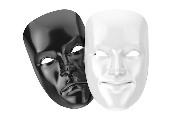 Biały uśmiechający się komedia i czarny smutny dramat groteskowa maska teatralna na białym tle. renderowanie 3d