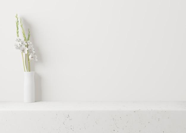 Biały wazon z kwiatami na białym tle