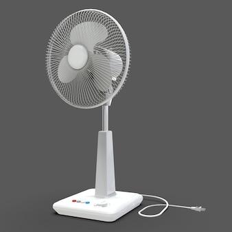 Biały wentylator elektryczny. trójwymiarowy model na szarej powierzchni. wentylator z przyciskami sterującymi na stojaku. proste urządzenie do wentylacji powietrza