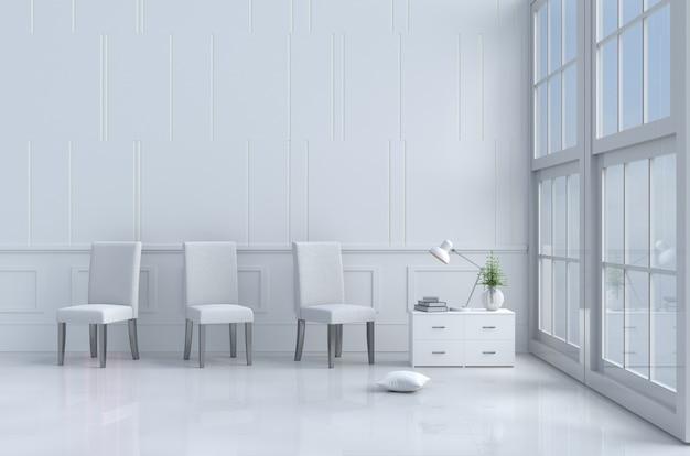 Biały wystrój salonu z poduszkami, okno, niebo, lampa, ściana, krzesło