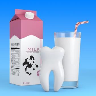 Biały ząb przed szklanką mleka i kartonem mleka na niebieskim tle. renderowanie 3d