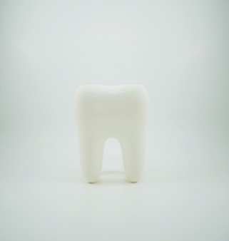 Biały zdrowy ludzki ząb odizolowywający
