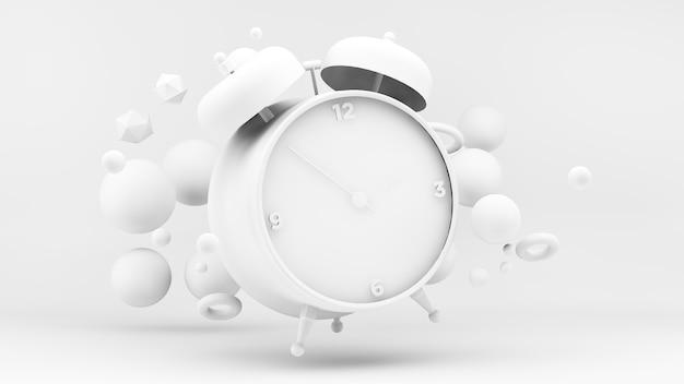 Biały zegar 3d w projekcie renderowania 3d