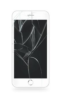 Biały zepsuty ekran telefonu komórkowego na białym tle