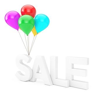 Biały znak sprzedaży z wielokolorowymi balonami na białym tle. renderowanie 3d
