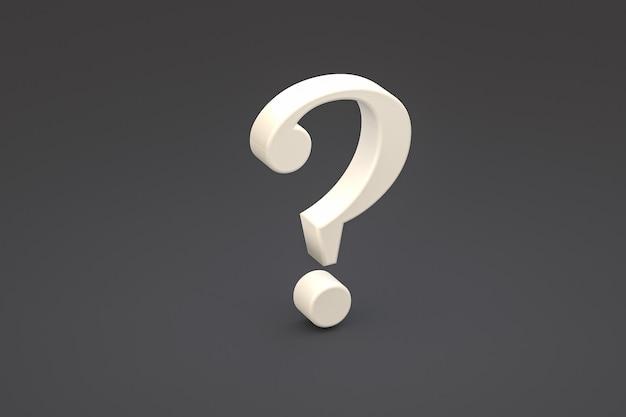 Biały znak zapytania minimalny na czarnym tle, renderowanie 3d, minimalna i kopiowa przestrzeń