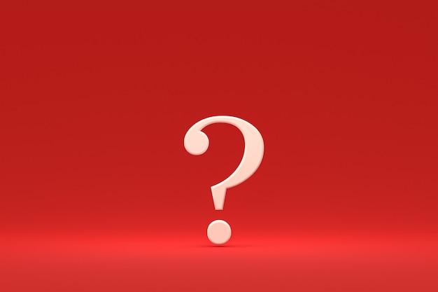 Biały znak zapytania minimalny na czerwonym tle, renderowanie 3d, minimalna i kopiowa przestrzeń