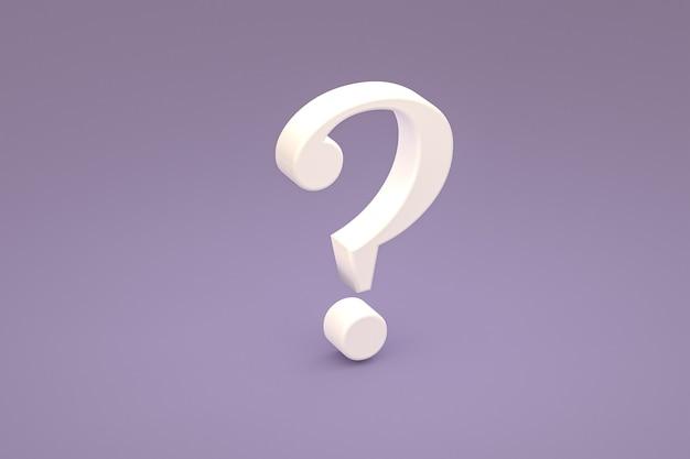 Biały znak zapytania minimalny na fioletowym tle, renderowanie 3d, minimalna i kopiowa przestrzeń