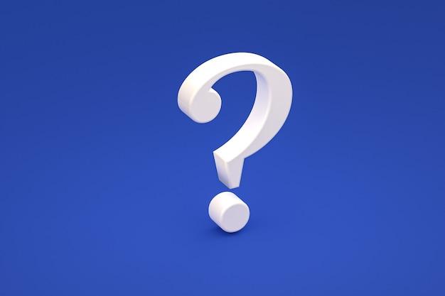 Biały znak zapytania minimalny na niebieskim tle, renderowanie 3d, minimalna i kopiowa przestrzeń