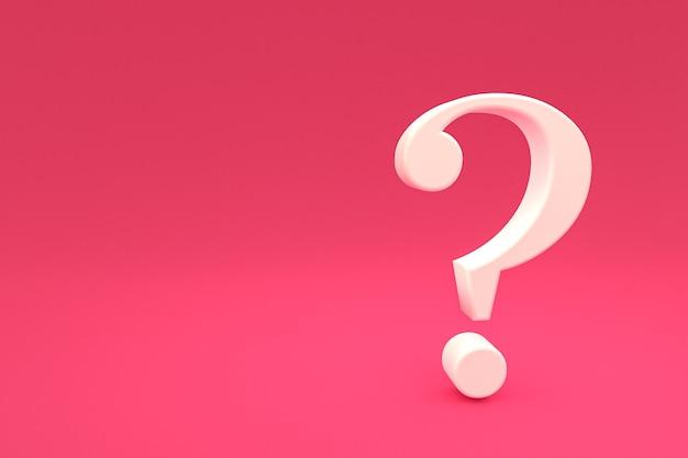 Biały znak zapytania minimalny na różowym tle, renderowanie 3d, minimalna i kopiowa przestrzeń