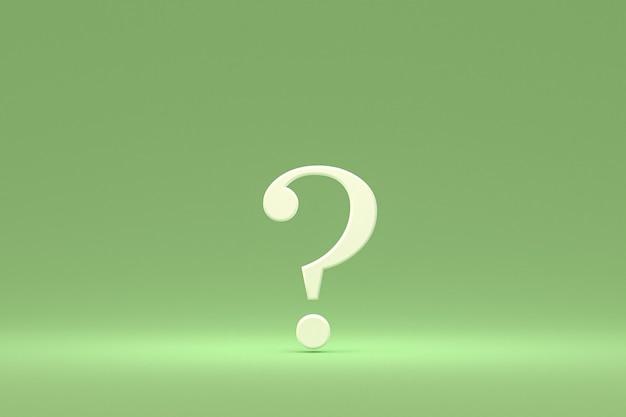 Biały znak zapytania minimalny na zielonym tle, renderowanie 3d, minimalna i kopiowa przestrzeń