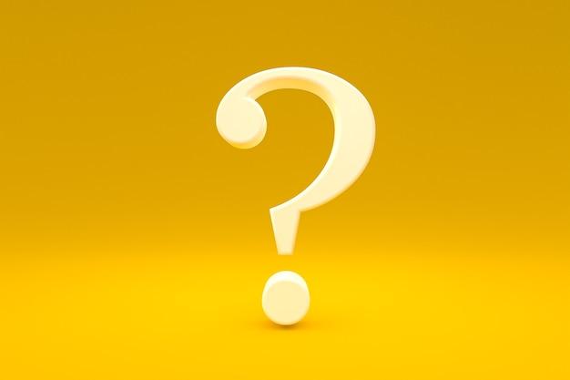 Biały znak zapytania minimalny na żółtym tle, renderowanie 3d, minimalna i kopiowa przestrzeń