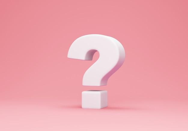 Biały znak zapytania na różowo