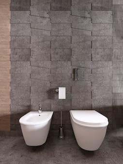 Bidet i toaleta na tle szarych płytek z teksturą. renderowanie 3d