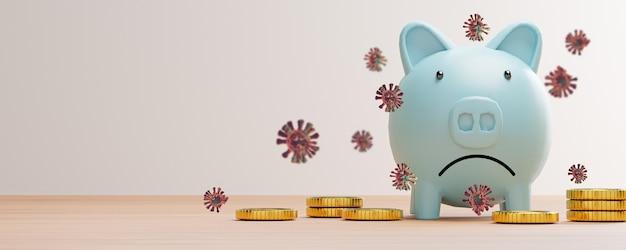 Biedny i smutek niebieskiej oszczędzającej świnki z monetą i wirusem koronowym na stole, pandemia covid-19 powoduje depresję gospodarczą od 2019 r., renderowanie 3d.