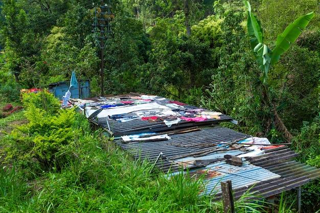 Biedny obszar wyspy sri lanki. pralnia sucha na dachu domu przy linii kolejowej.
